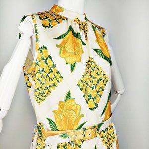 Vintage 1960s Leslie Fay Yellow Tulip Maxi Dress M